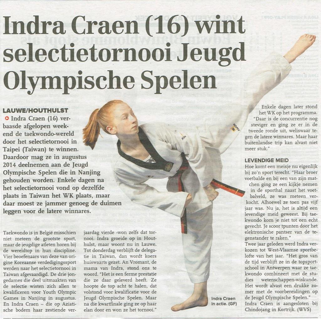 Indra jeugd olympische spelen, in Krant van West-Vlaanderen